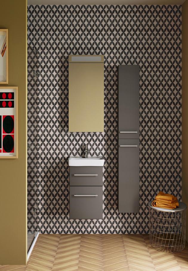 Nábytek z řady GO s umyvadlem Mini s hloubkou pouze 38 cm, určeno pro malé koupelny a toalety, cena od 8 990 Kč