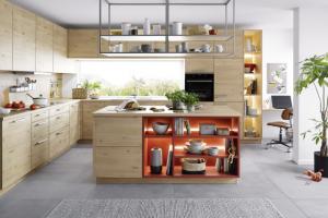 Kuchyň Lima, lamino se strukturovaným povrchem, dekor dřeva s horizontálně umístěnými letokruhy, WWW.CASAMODERNA.CZ