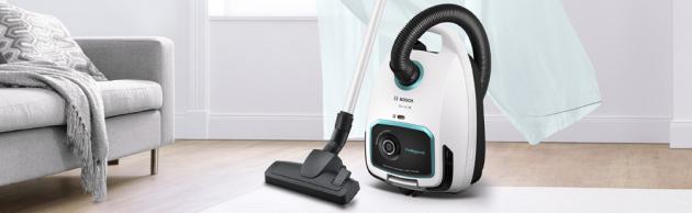 Sáčkový vysavač ProHygienic BGL6HYG1 (Bosch), vhodný pro alergiky, čistý vyfukovaný vzduch, cena 6 990 Kč, WWW. BOSCH-HOME. COM/CZ