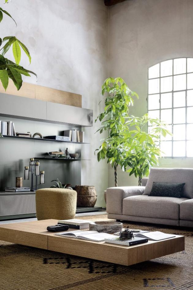 Světlo a příroda tvoří dokonalou kulisu pro tento sofistikovaný interiér.
