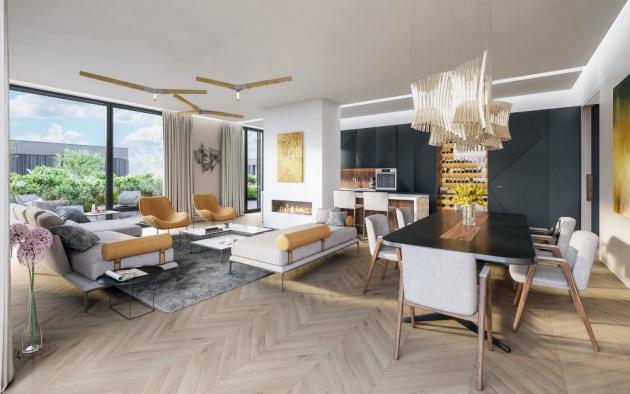 Designové byty o velikosti od 1+kk až po rodinné 4+kk a prostorné penthousy 5+kk jsou provedené v nejvyšším standardu Premium.