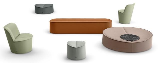 Křesla a pufy z kolekce Nenou (COR), design Jorg Boner, technické vlákno, cena od 10 000 Kč/ks, WWW.STOPKA.CZ
