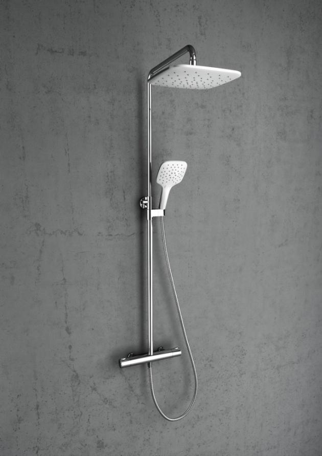 Značka RAVAK má vnabídce čtyři typy termostatických sprchových sloupů vdoporučené ceně od 9490 Kč.