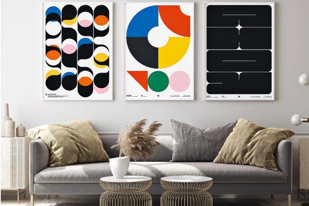 Grafické plakáty Color Rain, Misfits a Ahoy inspirované školou Bauhaus (PosterLad), design Vratislav Pecka, orientační cena od 1 054 Kč, WWW.POSTERLAD.COM