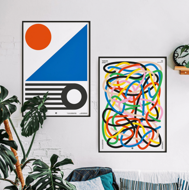 Grafické plakáty Beach a Tangled inspirované školou Bauhaus (PosterLad), design Vratislav Pecka, orientační cena od 1 054 Kč, WWW.POSTERLAD.COM