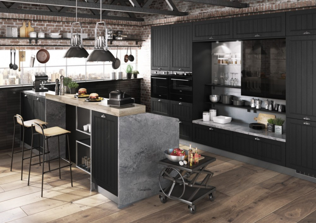 Kuchyň Lea (Kuchyně Gorenje), fóliovaná dvířka se strukturou dřeva, obkladové panely v dekoru mramoru, cena na dotaz, WWW.GORENJE.CZ
