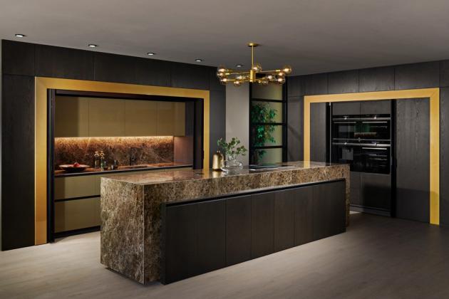 Kuchyň Elite Contura Line (Hanák nábytek), lak zlatá metalíza lesk, dýha jasan carbon mat, cena na dotaz, WWW.HANAK-NABYTEK.CZ