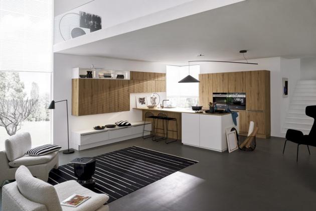 Kuchyň Nolte – Manhattan /Soft lack (Nolte Küchen), kombinace bílého matného laku a melaminu v dekoru sopečný dub, cena na dotaz, WWW.NOLTE-KUECHEN. DE