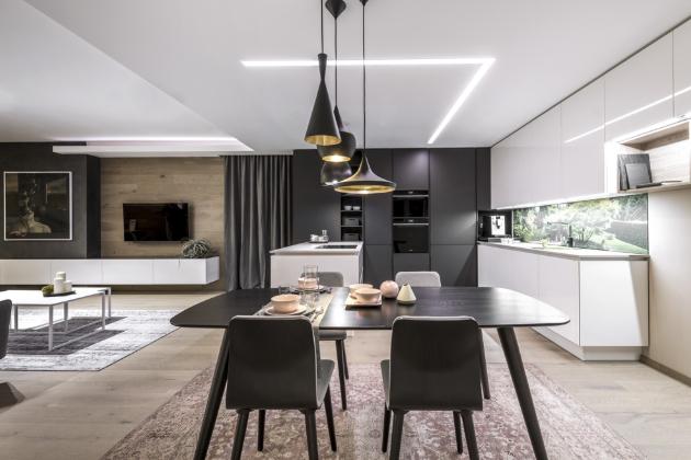 Kuchyň Exklusive White Black Evermatt (Sykora), dub Gladstone, pracovní deska Silestone, cena na dotaz, WWW.SYKORA.EU