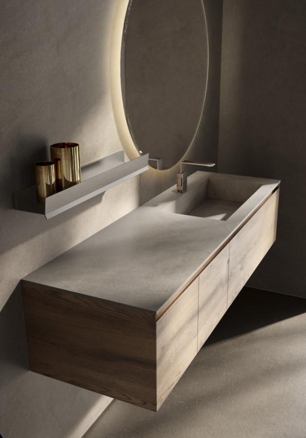 Umyvadlová skříňka Rovere Naturale (Idea), masiv dub, tři díly, horní police, smoked glass, cena (bez horní desky) 123 732 Kč, WWW.GLAMUR.CZ