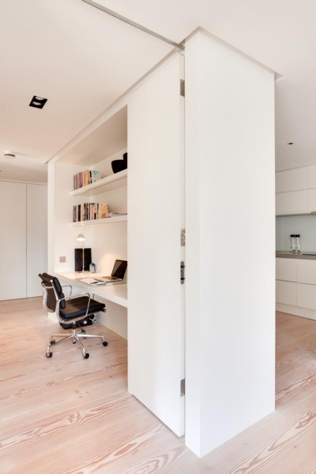 Klienti chtěli pracovní stůl, který by byl odolný, zcela hladký a dokonale zapadal do svěžího a moderního vhledu interiéru (Foto: Bruce Hemming / Mike Neale)