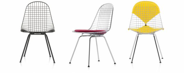 Série ikonických židlí Eames zahrnuje velký počet variant, proto existuje třípísmenkový systém pojmenování: první písmeno označuje výšku židle, druhé typ sedáku a třetí řešení podnože.