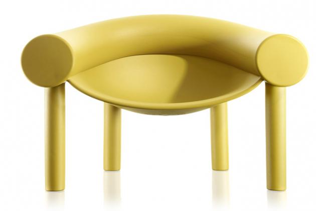 Křeslo Sam Son (Magis), design Konstantin Grcic, plastová základna a elastický polymer, vhodné také do exteriéru, cena 12 826 Kč, WWW.LINO.CZ