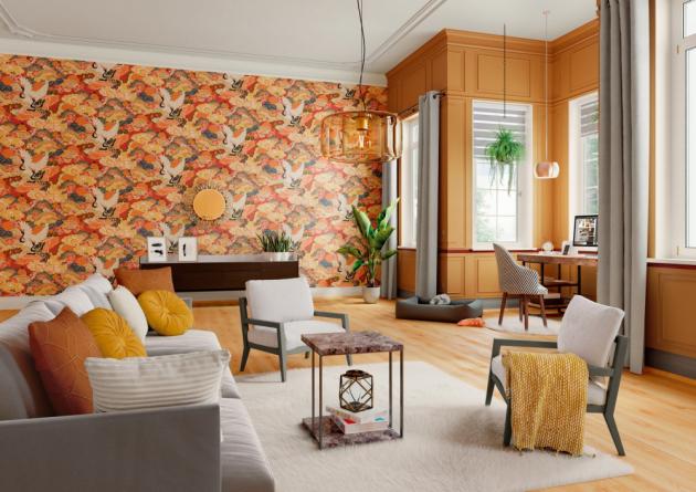 Styl Pure Spice: Vliesová tapeta floral barevná