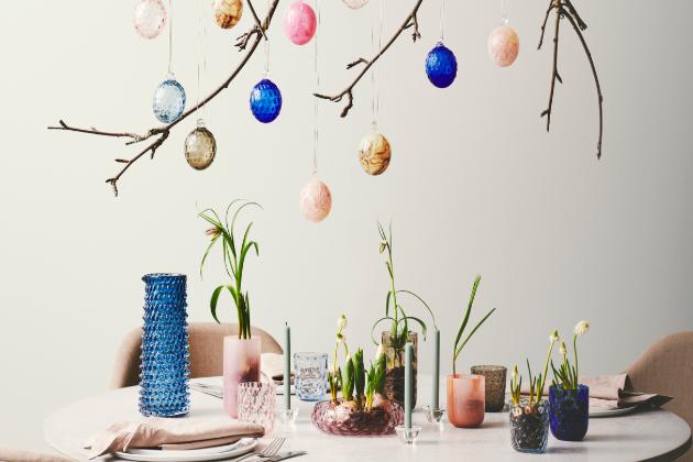 Dánské velikonoční kraslice z foukaného skla