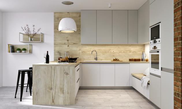 Kuchyň Evermatt (Dalno kuchyně), odolný matný lak v barvě bílé a světle šedé v kombinaci s pracovní deskou v dekoru smrku, cena závisí na konkrétní modulaci, www.dalno.sk
