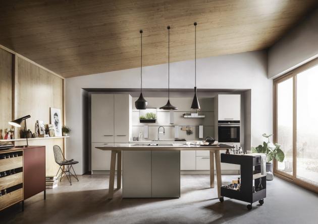 Kuchyňská sestava NX510, kombinace matného laku v pískově šedé a světlého dubu, cena závisí na konkrétní modulaci, WWW.CASAMODERNA.CZ