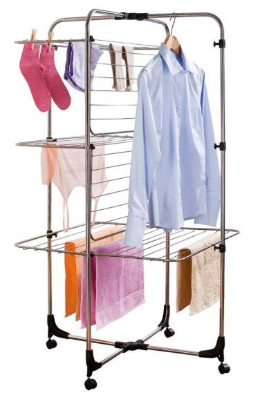 Pojízdný třípatrový sušák na prádlo Laundry (Wenko), 70 × 130 × 70 cm, nerezová ocel, kolečka z polypropylenu, cena 1 269 Kč, WWW.BONAMI.CZ