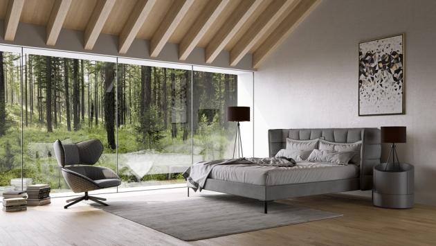 Čalouněná postel Monza s prošívanými detaily, cena od 36 494 Kč, WWW.CASAMODERNA.CZ