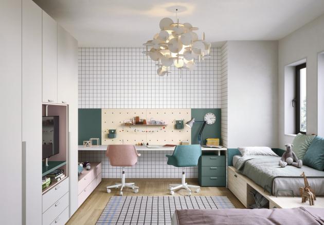 Dětský pokoj Space 3, lamino v dekoru dřeva a barevné laky, kovové detaily, cena na dotaz, WWW.CASAMODERNA.CZ