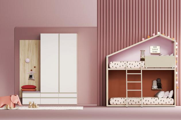 Dvoupatrová postel Cottage SE (Lagrama), lamino desky silné 1, 9, 3 a 5 cm, cena 167 089 Kč, WWW.SPACE4KIDS.CZ