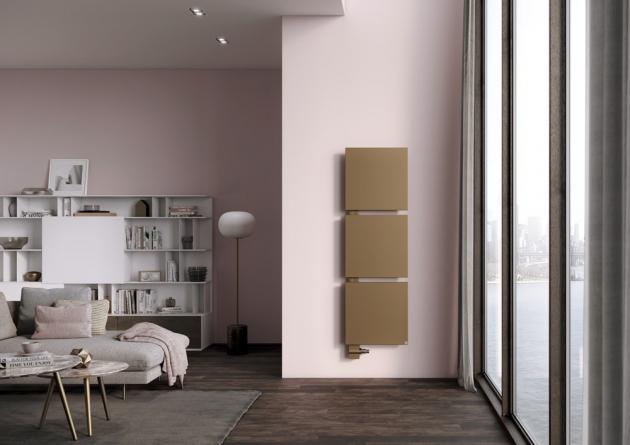 Radiátor Signo (Kermi), teplovodní/elektrické vytápění, lze seskupovat nad sebe, více barev / dvoubarevné, cena od 21 000 Kč, WWW.KERMI.CZ
