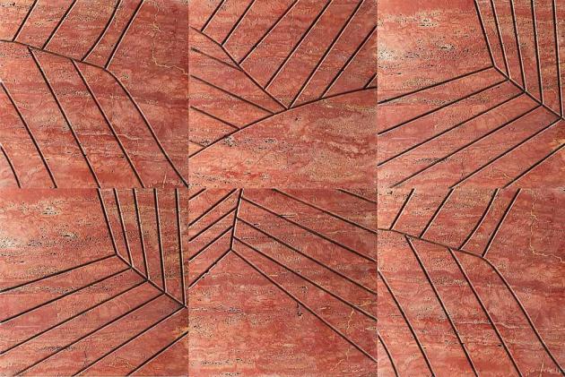 Nástěnný obklad Folium z kolekce Signum (Kreoo), design Sebastiano Zilio, 3D reliéfní travertin Rosso Persiano, 60 × 60 × 2 cm, cena na dotaz, WWW.KREOO. COM
