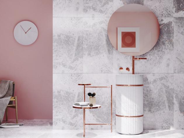 Kompletní umyvadlový set Column (L'Antic Colonial) s nábytkem i zrcadlem, přírodní kámen dostupný ve dvanácti barevných kombinacích, výška umyvadla 139 cm, cena na dotaz, WWW.DESIGNBATH.CZ