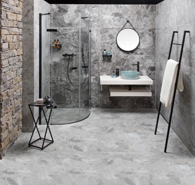 Dlažba a obklad Dom Mun grey (Dom Design Lab), rektifikovaná keramika, mat, rozměr 60 × 120 cm, cena 999 Kč/m2, WWW.SIKO.CZ