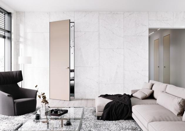 Dveře Master (JAP Future) s opláštěním z matného jednobarevně lakovaného skla s úpravou proti otiskům prstů, výška dveřního křídla až 300 cm, cena od 42 383 Kč, WWW.JAPCZ.CZ