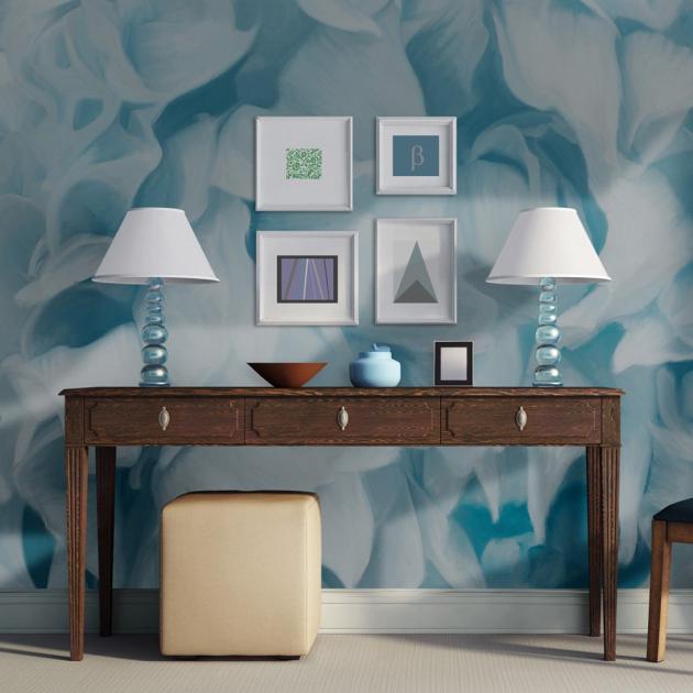 Jemná abstraktní tapeta v modrobílé barvě