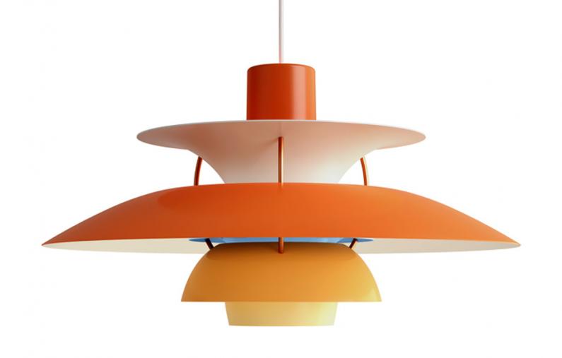 Dekorativní závěsné svítidlo PH 5 (Louis Poulsen), design Poul Henningsen, dostupné v několika barevných variantách, O 50 cm, orientační cena od 18 744 Kč, WWW.BULB.CZ