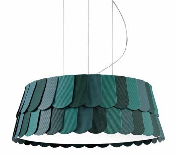 Dekorativní závěsné svítidlo Roofer F12 (Fabbian), design Benjamin Hubert, dostupné ve třech velikostech a několika barevných variantách, orientační cena od 18 276 Kč, WWW.LUNARES.CZ