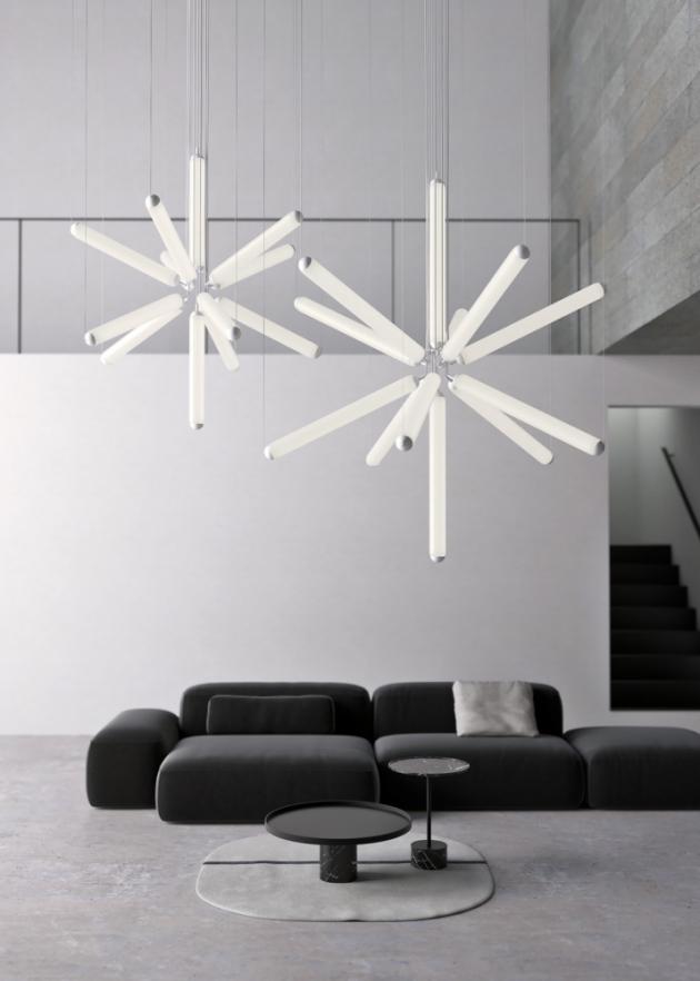 Puro Sparkle (Brokis), design Lucie Koldová, opálové sklo a kov, O 131, 168 a 202 cm, cena od 551 954 Kč, WWW.LINO.CZ