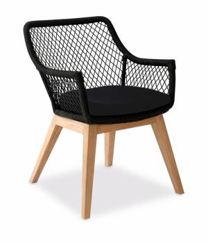 Židle/křeslo Olivia (Mountfield), teakové dřevo, výplet z krouceného syntetického vlákna Viro Polyfiber, odnímatelný sedák, cena 4 290 Kč, WWW.MOUNTFIELD.CZ