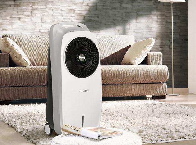 Ochlazovač vzduchu OV5200 (Concept) s funkcí ventilátoru a zvlhčovače vzduchu, hlučnost 64 dB(A), cena 3 999 Kč, WWW.HORNBACH.CZ