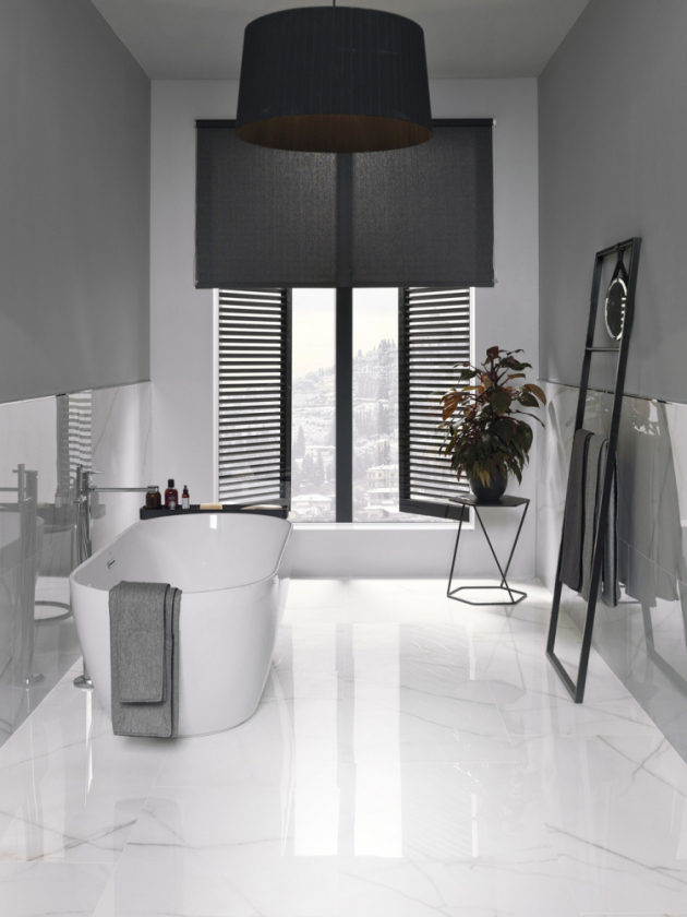 Rektifikovaná dlažba Portofino (Porcelanosa), 58,6 x 118,7 cm, vysoký lesk, cena 2 953 Kč/m2, WWW.DESIGNBATH.CZ
