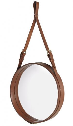 Zrcadlo Adnet Circulaire (Gubi), lemování kůží nebo odolnou látkou Alcantara, mosazné doplňky, cena 19 447 Kč, WWW.STOCKIST.CZ