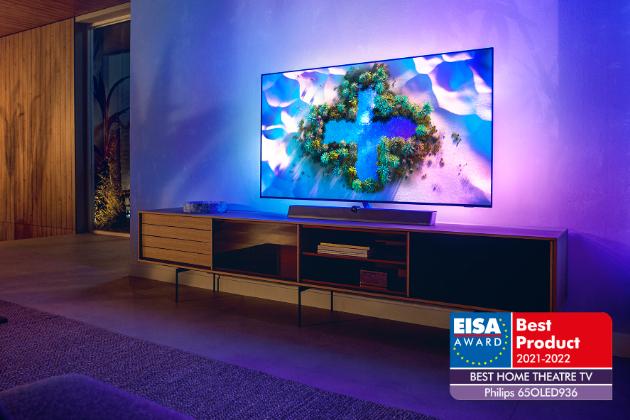 """EISA Home Theatre TV of the Year 2021–2022 Award (Ocenění EISA Domácí kino TV roku 2021–2022) získává televizor Philips 65"""" OLED+ 936"""