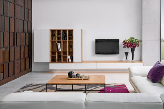 Minimalistický obývací pokoj s knihovnou (Hanák Nábytek), kombinace bělené dubové dýhy s patinou i bílého laku s vysokým leskem, dostupné různých barevných a materiálových provedeních, cena závisí na konkrétní specifikaci, WWW.HANAK-NABYTEK.CZ