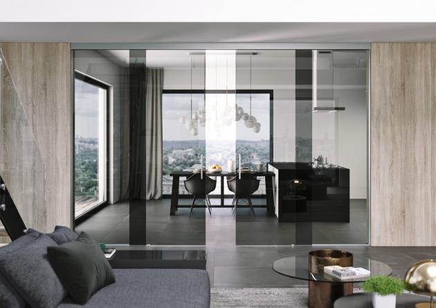 Dvoukřídlé celoskleněné dveře, sklo planibel šedý, posuv TRIX HEAVY, cena podle konkrétního provedení, WWW.JAPCZ.CZ