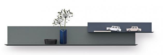 Nástěnná police lilu (Interlübke), design Christian Werner, lakovaný kov, cena na dotaz, WWW.STOPKA.CZ