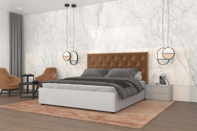 Ložnice Elisabeth v lesklém šedém laku s čalouněním