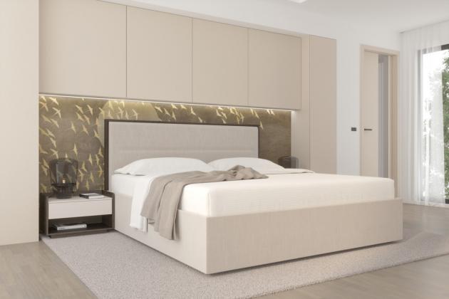 Ložnice Madison v látkovém provedení v kombinaci s lakem a přírodní dýhou
