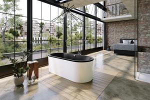 Vzhledem k elegantnímu panelu je ideální, když je vana Classic Duo Oval umístěná ve volném prostoru, kde nejlépe vynikne její čistý a harmonický tvar.